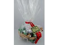Pochon en cellophane contenant 165g de petites bouchées des trois qualités de nougat (nougat noir, nougat blanc Provence et nougat blanc Félibres)