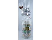 Bonbonnière en verre contenant 190g de petites bouchées des trois qualités de nougat (nougat noir, nougat blanc Provence et nougat blanc Félibres)