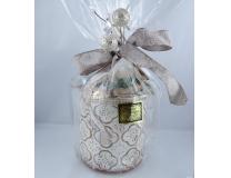 Photophore en verre contenant  contenant 200g de petites bouchées des trois qualités de nougat (nougat noir, nougat blanc Provence et nougat blanc Félibres)